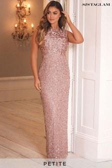 Sistaglam Gold Petite Embellished Maxi Dress