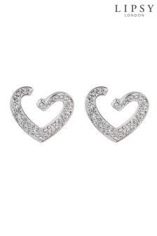 Lipsy Silver Plated Crystal Front To Back Heart Drop Earrings