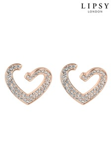 Lipsy Rose Gold Plated Crystal Front To Back Heart Drop Earrings