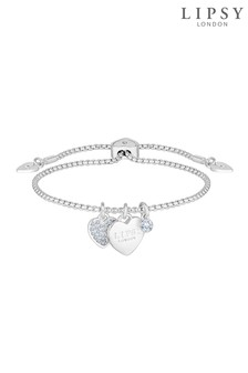 Lipsy Jewellery Silver Plated Crystal Pave Heart Toggle Bracelet