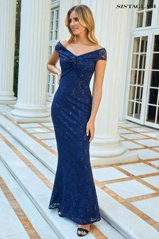 Sistaglam Blue All Over Lace Bardot Maxi Dress