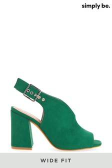 Simply Be Green Wide Fit V Cut Slingback Shoeboots