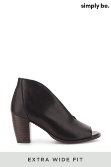 Simply Be Black Extra Wide Fit V Cut Leather Shoeboot