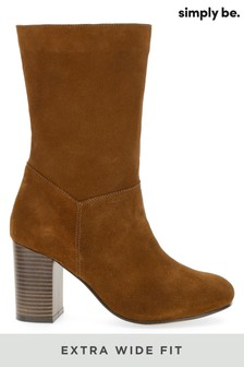 Simply Be Extra Wide Fit Suede Slouch Block Heel Calf Boot