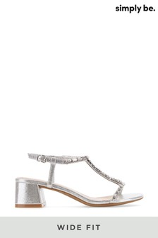 Simply Be Silver Wide Fit T-Bar Diamante Low Block Heel Sandal