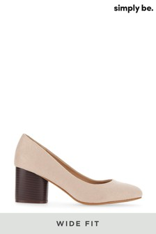 Simply Be Wide Fit Round Heels Classic Court Shoe