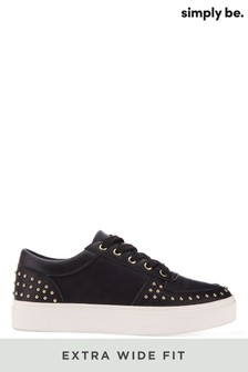 Simply Be Black Extra Wide Fit Studded Lace Up Trainer