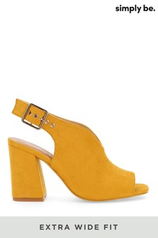 Simply Be Yellow Extra Wide Fit V Cut Slingback Shoeboot