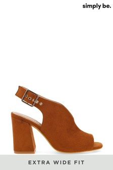 Simply Be Brown Extra Wide Fit V Cut Slingback Shoeboot