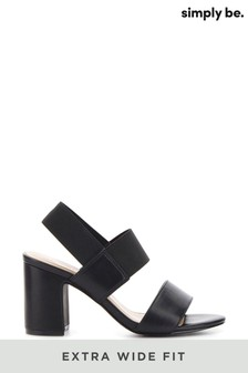 Simply Be Extra Wide Fit Elastic Y Bar Elastic Block Heel Sandal