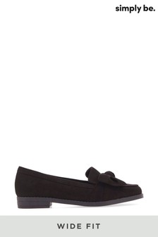 Simply Be Black Wide Fit Twist Front Flat Loafer