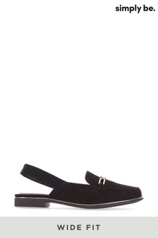 Simply Be Black Wide Fit Mule With Elastic Back Strap