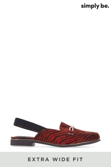 Simply Be Red Extra Wide Fit Mule With Elastic Back Strap
