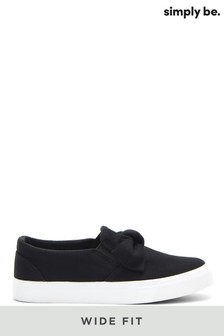 Simply Be Wide Fit Bow Slip-On Pumps