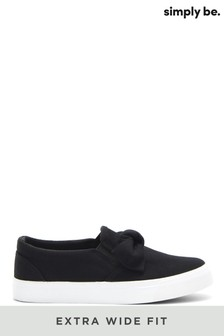 Simply Be Black Extra Wide Fit Bow Slip-On Pumps