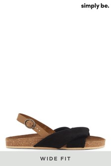 Simply Be Black Wide Fit Twist Front Leather Footbed Sandals