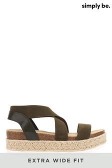 Simply Be Khaki Extra Wide Fit Elastic Strap Upper Flatform Sandals