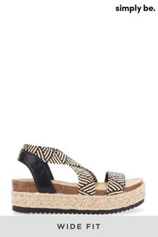 Simply Be Black Wide Fit Elastic Strap Upper Flatform Sandals