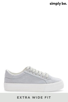 Simply Be Extra Wide Fit Plain Pastel Micro Suede Uppers Flatform Trainers