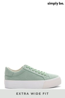 Simply Be Green Extra Wide Fit Plain Pastel Micro Suede Uppers Flatform Trainers