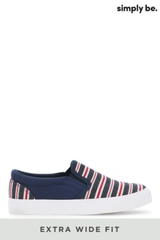 Simply Be Navy Stripe Extra Wide Fit Slip On Pumps