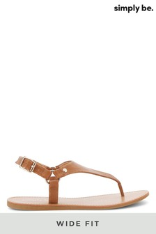 Simply Be Brown Wide Fit Harness Toe Post Sandals
