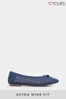 Yours Extra Wide Fit Laser Cut Stud Ballerina Pumps