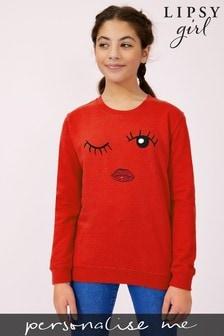 Personalised Lipsy Eyes Wink Girls Sweatshirt by Instajunction