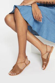 Lipsy Brown Strappy Gladiator Flat Sandals