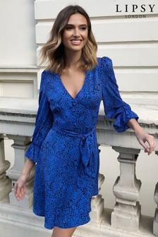Lipsy Cobalt Long Sleeve Tea Dress