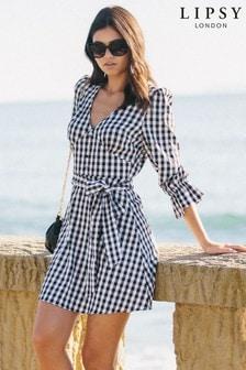 Lipsy Gingham Long Sleeve Tea Dress