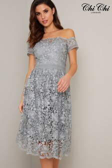 Chi Chi London Grey Premium Embroidered Bardot Dress