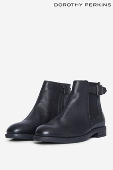 Dorothy Perkins Black Oak Buckle Chelsea Boot