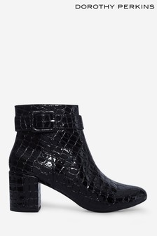 Dorothy Perkins Black Andi Covered Buckle Ankle Boot