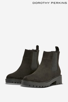 Dorothy Perkins Black Wide Fit Fur Lined Chelsea Boot