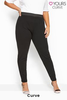 Yours Black Curve 29 inch Tapered Trousers