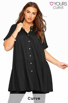 Yours Black Curve Tiered Smock Longline Shirt