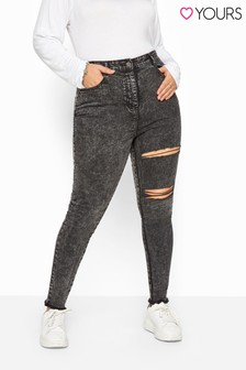 Yours Curve Acid Wash Double Ripped Skinny Ava Jeans