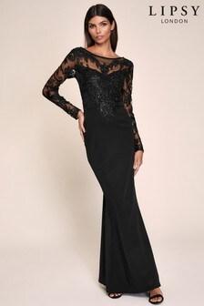 Lipsy Black Embelished Maxi Dress