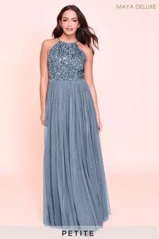Maya Blue Petite Halterneck Delicate Sequin Maxi Dress