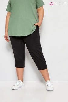 Yours Limited Black Curve Cool Cotton Crop Trousers
