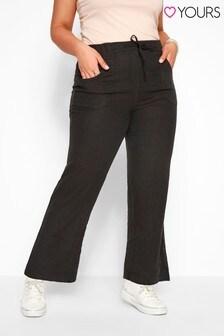 Yours Black Curve Linen Wide Leg Trouser