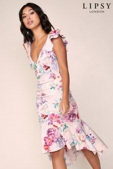 Lipsy Ruffle Bodycon Midi Dress