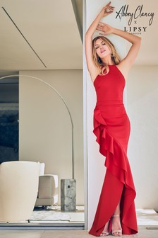 Abbey Clancy x Lipsy Red Halter Ruffle Maxi Dress