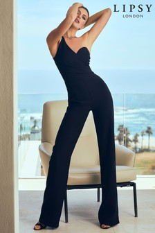 Abbey Clancy x Lipsy One Shoulder Asymmetric Jumpsuit