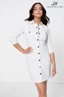 JDY White Denim Button Through Mini Dress