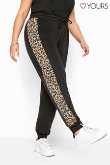 Yours Black Curve Leopard Print Panel Joggers