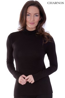 Charnos Black Second Skin Thermal Roll Neck Top