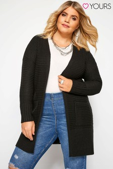 Yours Curve Raised Rib Relaxed Fit Cardigan