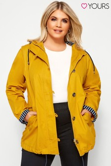 Yours Yellow Curve Button Detail Twill Jacket